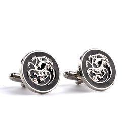 Wholesale head snow - Game of Thrones jewelry jon snow house Targaryen badge 3 heads dragon Cufflinks movies french cufflinks for men zj-0903648