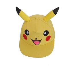 Wholesale Kawaii Hats - Anime Poke Pikachu Cosplay With Ears Kawaii Baseball Caps Adults Children Flat cap Hip Hop Sun Hat Kids Biboo Swag Snapback