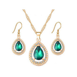 Wholesale Emerald Jewelry - 18K Gold Plated Crystal Paved Ruby Emerald Sapphire Teardrop Dangle Earrings Necklace Jewelry Sets for Women