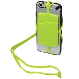Wholesale Necklaces Customized - New Silicone Lanyard Case Cover Holder with Back Card Holder Pouch Silicone Card Pocket Necklace Wrist Strap for Mobile Phones Universal