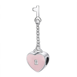 Wholesale Glass Bead Key Chain - Wholesale Pink Enamel Heart Lock And Key Charm 925 Sterling Silver European Charms Beads Fit Snake Chain Bracelet Fashion DIY Jewelry
