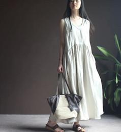 Wholesale Maxi Skirt Dress Cotton - Plus Size Linen Women Summer Vest Gown Dress Casual Loose V Neck Vintage Cotton Long Maxi Skirt Vintage Sleeveless Dresses Clothing