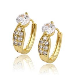 Wholesale 14k White Gold Hoops - Xuping 14K Gold Color Copper Huggie Quality Zirconia Earrings For Women Factory Price Luxury Copper Jewelry Huggie Gifts DH-14-9073613