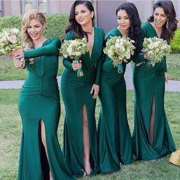 Wholesale emerald wedding dresses - Emerald Green Long Sleeves Bridesmaid Dresses Mermaid Pleats Front Split Wedding Guest Dress Floor Length Plunging Formal Evening Wear 2016