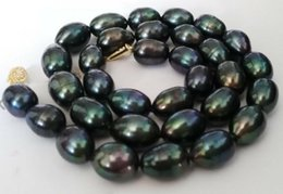 Wholesale Baroque Tahitian Pearl Necklace - Gorgeous 11-12mm baroque Tahitian black green pearl necklace 19 inch 14k gold clasp