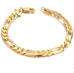 Wholesale Real Men Gold Jewelry - Hot Sell Classic Vintage 18K Real Gold Plated Figaro chain bracelet Attractive Gold plated Bracelet handmade Men Women Jewelry wholesale