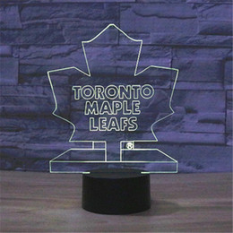 Wholesale Visual Lighting - 2016 Acrylic Kids 7 Colors Toronto 3D Visual Maple Leaf Logo LED RGB Night Light Baby Bedroom USB Christmas Gifts Table Lamp-210