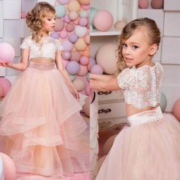 Wholesale Top Pageant Dresses - Amazing 2016 Girl Pageant Dress Newest Two Pieces Girl's Formal Gowns Illusion Lace Crop Top Short Sleeves Flower Girl Dress Ruffle Skirt