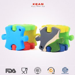 Wholesale Massaging Beads - eCloud BPA Free Silicone Puzzle Teethers Pendant Food Grade Colorful Baby Teethers Chew Beads For Gingival massage Pacifier Chain Pendant
