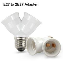 Wholesale E27 Y - 1Pcs Fireproof Material E27 to 2 E27 lamp Holder Converter Socket Conversion light Bulb Base type 2E27 Y Shape Splitter Adapter