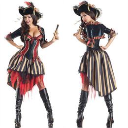 Wholesale Caribbean Performance Costumes - 2016 New Pirates of the Caribbean Cosplay Costume Halloween Carnival Sexy Party Costumes Stage Performance Cosplay Dress