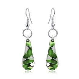 Wholesale Drop Murano Earrings - Water Drop Shape Spiral Murano Lampwork Glass Pendant Earrings 6 Color Select Cool Jewelry Flower Teardrop Earrings