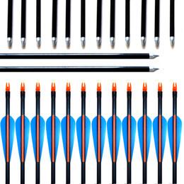 """Arco de fibra de vidro recurvo on-line-12 pçs / lotes 31.5 """"30"""" 29 """"28"""" spine 500 com azul pena de fibra de vidro seta para arco arco recurvo ou composto arco prática caça"""