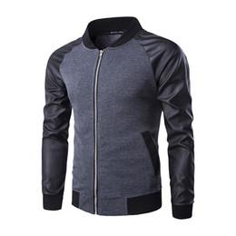 Wholesale Stylish Sports Jackets - 2016 New men fashion slim Baseball jacket motorcycle jacket pu leather Sleeve Brand Stylish sports Jacket Homme
