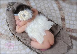 Wholesale Kawaii Baby Headbands - Wholesale- baby girl flower Angel feather wings hair headband photo shoot kawaii hair accessories for newborns head band Photography props