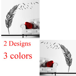 Wholesale Country Feathers - 100pcs flying feathers wall stickers living bedroom decoration ZY8408A ZY8408B diy vinyl adesivo de paredes home decals