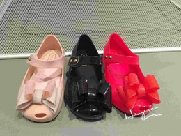 df929ffbee0968 melissa sandal bow jelly Canada - Three Big Bow Mini Melissa Girls Sandals  Jelly Shoes Melissa