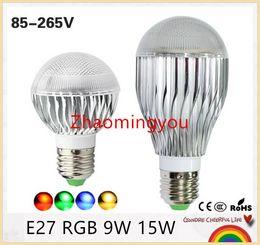 Wholesale B22 Led Remote - 1Pcs E27 RGB LED Bulb Dimmable rgb led Lamp with 24KEY Remote Control led rgb lamp 85v-265v Multiple Color Bulb Lamps 9W 15W