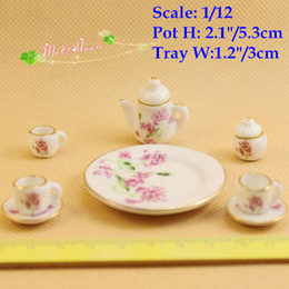 Wholesale Old China Porcelain - 1:12 scale Dollhouse Miniature Porcelain China Tea Set Coffee set Pot Cup Tableware Set Doll house accessories  Doll house mini furnitures a