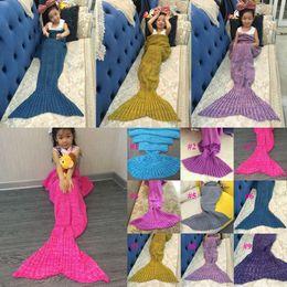 handgefertigte gehäkelte babydecken Rabatt Kinder häkeln Meerjungfrau Decken handgemachte Meerjungfrau Decken Sofa Nap Decken Kinder Meerjungfrau Swaddle Meerjungfrau schlafen Decke Babydecke