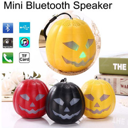 Wholesale Clear Plastic Buttons - Pumpkin Mini Bluetooth Speakers LED Flash Light Multi-color Speaker TF Ultra Clear Sound Outdoor Cycling Hiking Travel Halloween Xmas Gift