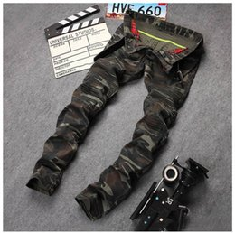 Wholesale Military Fit - New Mens Camouflage Jeans Motocycle Camo Military Slim Fit Famous Designer Biker Jeans With Zippers Men AY971