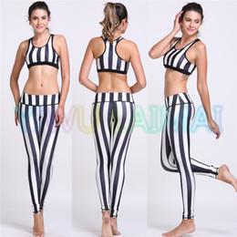 Wholesale Training Bra Sizes - Wholesale-YIWU LAIMAI Women's Yoga sets Black white Stripe lines streak fringe women's trousers training Bra tights sports leggins pant