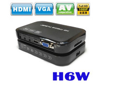 Wholesale Av Output - 1080P Full HD HDD H6W Media Player INPUT SD USB HDD Output HDMI AV VGA AV YPbpr Support DIVX AVI RMVB MP4 HD Multimedia Player