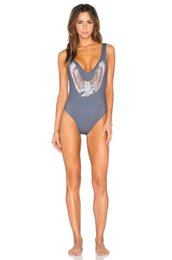 Wholesale Designer Monokini Swimwear - 2016 Designer Retro Totem Printing One Piece Swimsuit Cut Out Monokini Piece Bathing Suit Bodysuit Back Bandage Swimwear Girls 1920