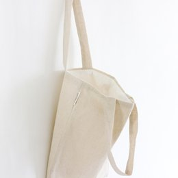 Wholesale Wholesale White Cotton Tote Bags - Pure Cotton Linen Canvas Plain Colors Tote Bags Sling Messenger Shoulder Shopping Bag with Cotton Lining Zipper or No Zipper