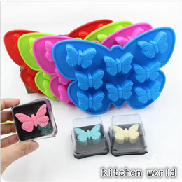 Wholesale Handmade 3d Shape - 1 pc 8 Holes 3D Butterfly Shaped Cake Mold Silicone Soap Candy Chocolate Ice Mould Handmade Baking making Mold Random Color