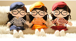 Wholesale Dolls Coats - 2016 New autumn toys original cute child doll plush toy doll girl birthday gift for Christmas gift 5 colors