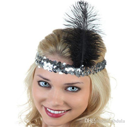 Wholesale Hair Bands Diamonds - New Fashion Fancy Feather Headband 20pcs Flapper Sequin Costume Hair Band Party Hairband Flapper Feather Headband 1920's Flapper Many Colors
