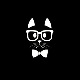 Wholesale Windshield Decal For Girls - Hipster Cat Decals With Glasses Sticker Laptop Car Truck Window Vinyl Decal Clever little animals for cute girl Students woman Jdm