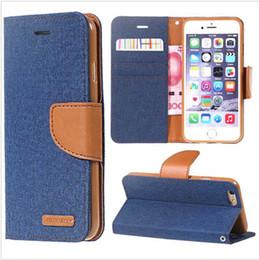 Wholesale Iphone Denim Wallet Case - Mercury Canvas Diary Denim Wallet Stand Leather case cover for IPHONE 5 5S SE IPHONE 6 6S IPHONE 6 6S PLUS IPHONE 7 IPHONE 7 PLUS 1PC OPP P