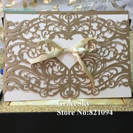 Wholesale Wedding Party Lace Umbrellas - 50pcs lot Free shipping Laser Cut Lace Pattern Love Heart Paper Wedding Birthday X'mas Party Paper Invitation Card with Inner Blank Paper