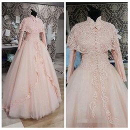 Wholesale Long Sleeve Muslim Dresses Online - 2017 Modest High Neck Lace Long Sleeves A-Line Wedding Dresses Lace Appliques Beading Sequined Bridal Gowns Custom Online Formal Dubai