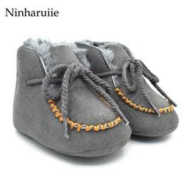 Wholesale Pink Newborn Booties - Wholesale- Ninharuiie New Cozy Baby Shoes 6 Colors Winter Baby Girl Tie Up Booties Newborn Toddlers Kid Cozy Crib First Walker Shoes
