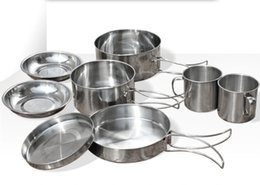 Wholesale Stainless Steel Cookware Sets - Wholesale-2015 New 8 Pieces Stainless Steel Cubiertos Camping Pots Picnic Set Cookware Outdoor Pot Camping Cooking Set Cutlery