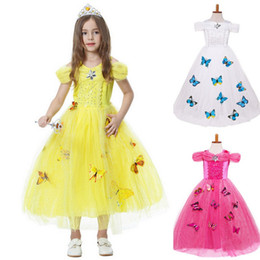 Wholesale Diamond Dress Short Beaded - 3 Colors Halloween Cinderella Dress Girls Cosplay Party Clothing Girls Princess Diamond Dress Butterfly Fancy Dress Tulle Short Sleeve