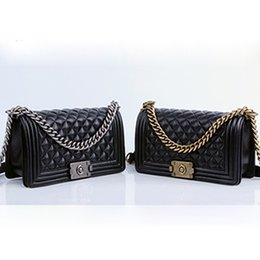 Wholesale Hw Fashion - Free Shipping 25cm Black Leather Flap Bag Purse Women's Genuine Leather Messenger Bag Chain Bag with gold hw