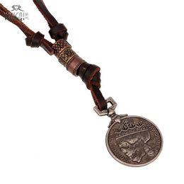 Deutschland Großhandels-handgemachte antike Silbermünzen Schädel-Anhänger-reale lederne Halskette für Männer Brown Chains Punk Jewelry cheap wholesale real 14k gold chain Versorgung