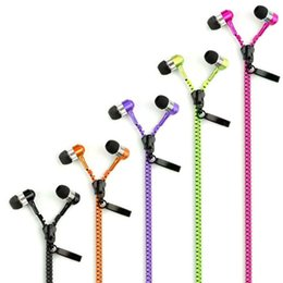 Wholesale Zipper Earphones Mic - Zip in-ear 3.5mm earphone with mic metal buds zipper headset headphone for MP3 iphone 6 plus Ipod Samsung htc