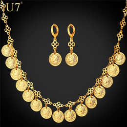 Wholesale 18k Real Gold Earrings - unique New Antique Jewelry Set For Women Gift 18K Real Gold Plated Engagement Gold Queen Coin Necklace Earrings Set Wholesale S815