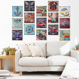Wholesale Pub Pictures - 30*30 iron wall hangings Retro Old Tin painting decorative Decoration Hanging Pictures 13 Styles Wall Art for Bar Cafe Home Club Pub