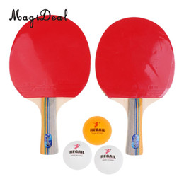 Wholesale Paddle Balls - Wholesale- MagiDeal Portable 1Pair Long Short Handle Pingpong Table Tennis Paddle Racket Bat& Balls&Cover for Table Tennis Player Beginner