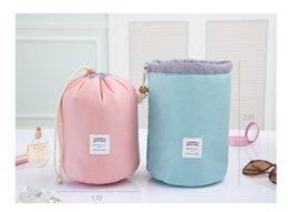 Wholesale Clothing Sets Wholesale Price - Factory Price!!! Barrel Shaped Travel Cosmetic Bag Nylon High Capacity Drawstring Elegant Drum Wash Bags Makeup Organizer Storage Bag
