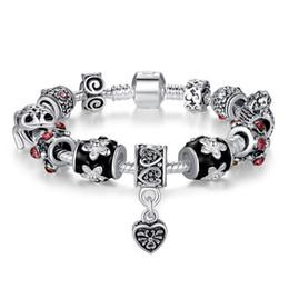 Wholesale hanging charms bracelets - Hot style Fine Tibetan antique silver Beads Bracelet heart-shaped hanging jewelry Pandora Charms Glass Beads DIY Beaded Strands Bracelet