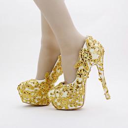 Fête éclatante d'or en Ligne-Or Chaussures De Mariée En Dentelle Glitter Formelle Robe Chaussures Talon Aiguille À La Main 14cm Talons Femmes Soirée De Demoiselle D'honneur Pompes