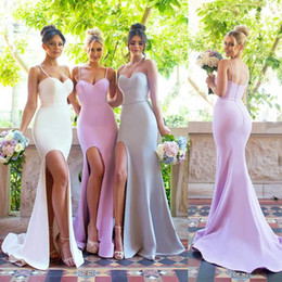 Wholesale Satin Short Straps Bridesmaid Dresses - 2018 Mermaid Side Split Spaghetti Straps Plain Bridesmaid Dresses Sexy Backless Stretchy Long Maid of Honor Gowns BA6786